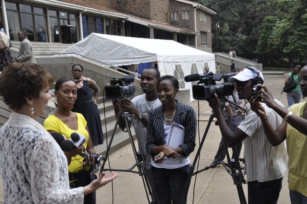 Dr. Paula Fellingham being interviewed in Kenya