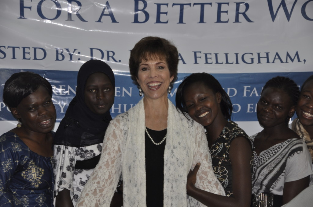 Dr. Paula Fellingham with young girls at Global Women's Summit in Nairobi, Kenya - Copy